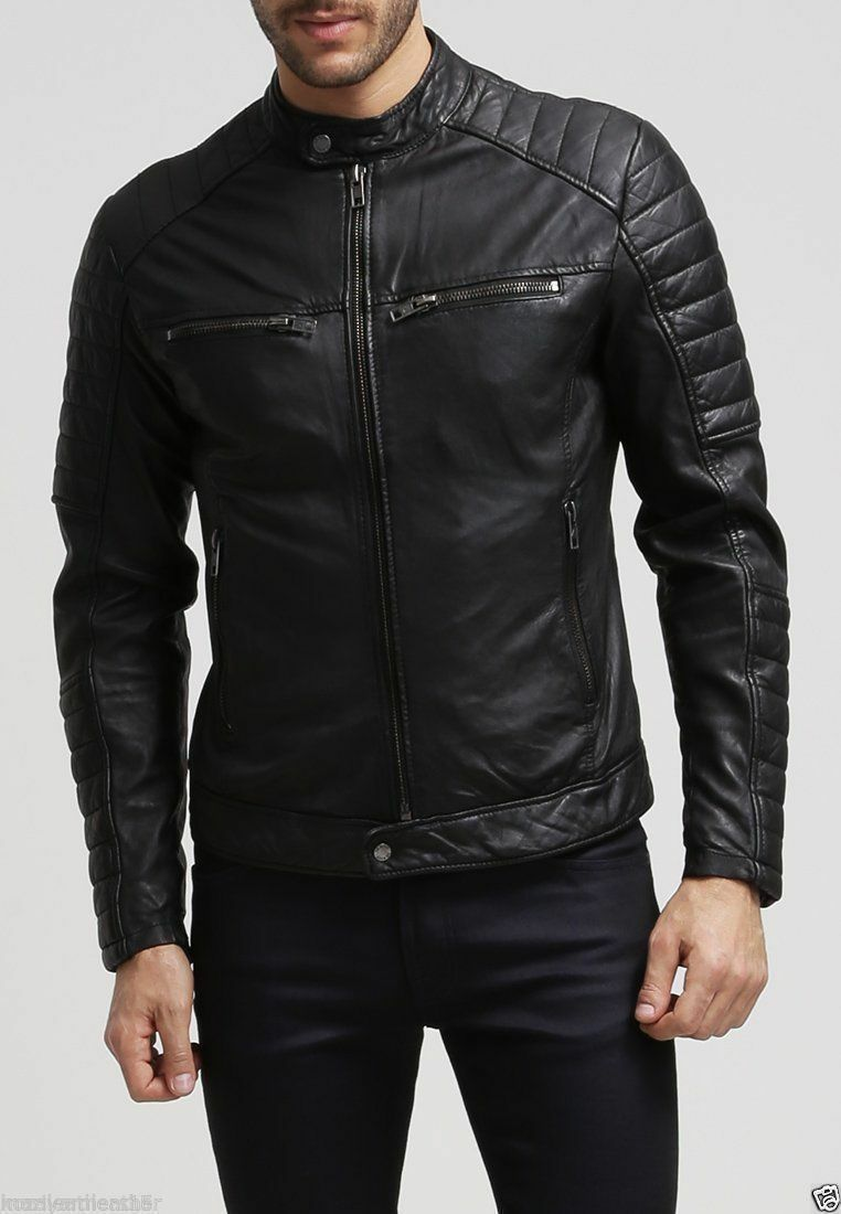 Uomo's Slim Fit Biker pelle Moto Stile Retro Giacca di pelle Biker nera 48bcb7