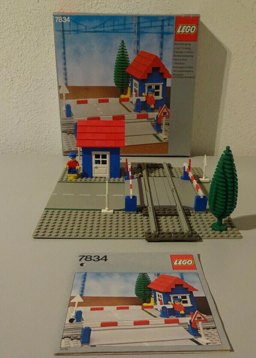 (TB)LEGO 7834 Level Crossing Manual Bahnübergang    MIT OVP & BA 100% KOMPLETT 6764bf