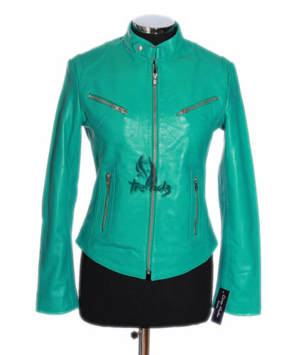 Real Ladies Leather Designer Biker Style Lambskin Jacket Short Turquoise Rush xXrqX8f