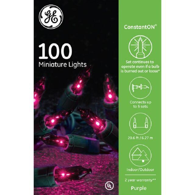 ge 100 ct miniature lights christmas holiday purple set strand constanton 4 boxe