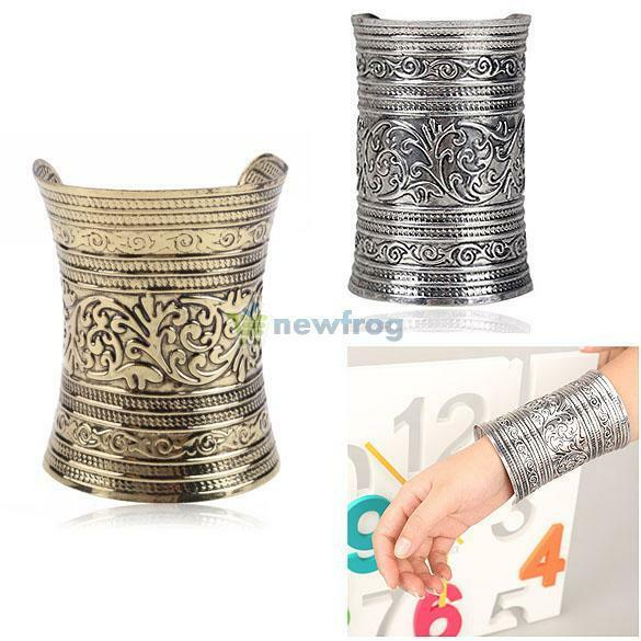 Fashion Antique Curved Jewelry Long Wide Vintage Metal Cuff Bracelet Bangle New