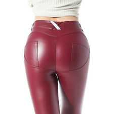 Ladies Matt Leather Look Leggings Red 10-14