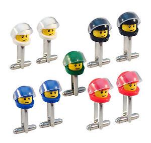 LEGO-Mini-Figure-BIKER-CUFFLINKS-Motorbike-Race-Car-Helmet-MotoX-F1-Racing