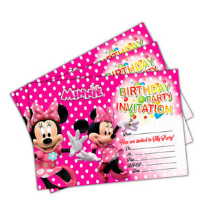 20 X Minnie Mouse Birthday Party Invitations Invites Cards Kids