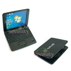 Dollhouse-Miniature-Metal-Laptop-Netbook-Notebook-Computer-Cover-Black