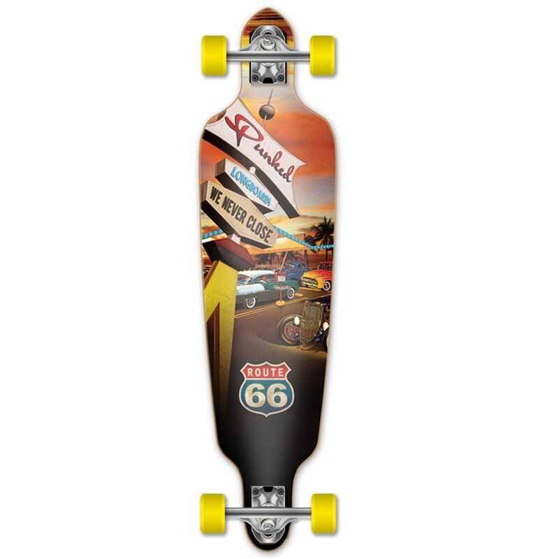 Yocaher Drop Through Longboard Complete - Route 66 Series - Diner
