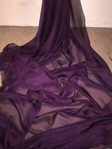 "1 MTR TEAL CATIONIC TWO TONE SHEER BRIDAL DRESS CHIFFON FABRIC...58/"" WIDE £2.50"