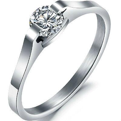 SZ 5 6 7 8 9 10 Stainless Steel Engagement Ring Wedding Kid Child Cubic Zirconia
