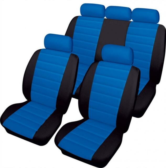 BLUE/BLACK CAR SEAT LEATHER LOOK FRONT & REAR COVERS for MG ZR 01-04