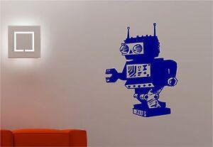 retro-robot-espace-Art-Mural-Autocollant-Decalque-Enfants-Chambre-a-coucher-pour