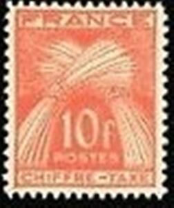 FRANCE-STAMP-TIMBRE-TAXE-N-76-034-TYPE-GERBES-10F-ROUGE-ORANGE-034-NEUF-x-TB
