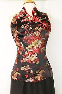 Asian-Chinese-Women-Cheongsam-Qipao-Style-Halter-Top-Blouse-with-Floral-Print