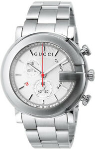 New-Gucci-G-Chrono-Chronograph-White-Dial-Stainless-Steel-YA101339-Mens-Watch