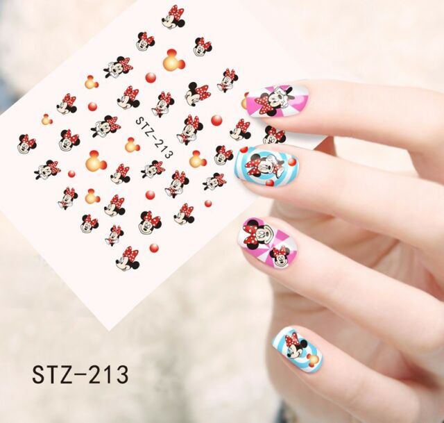 Nail Art Water Decals Stickers Transfers Red Mickey Minnie Mouse