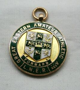1920-039-s-L-N-E-R-9-carat-Gold-And-Enamelled-Gt-Eastern-Railway-Athletics-Medal