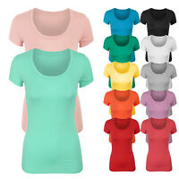 Women's Short Sleeve Basic Solid Plain Scoop Neck Cotton T-shirt Top Tee S,M,L