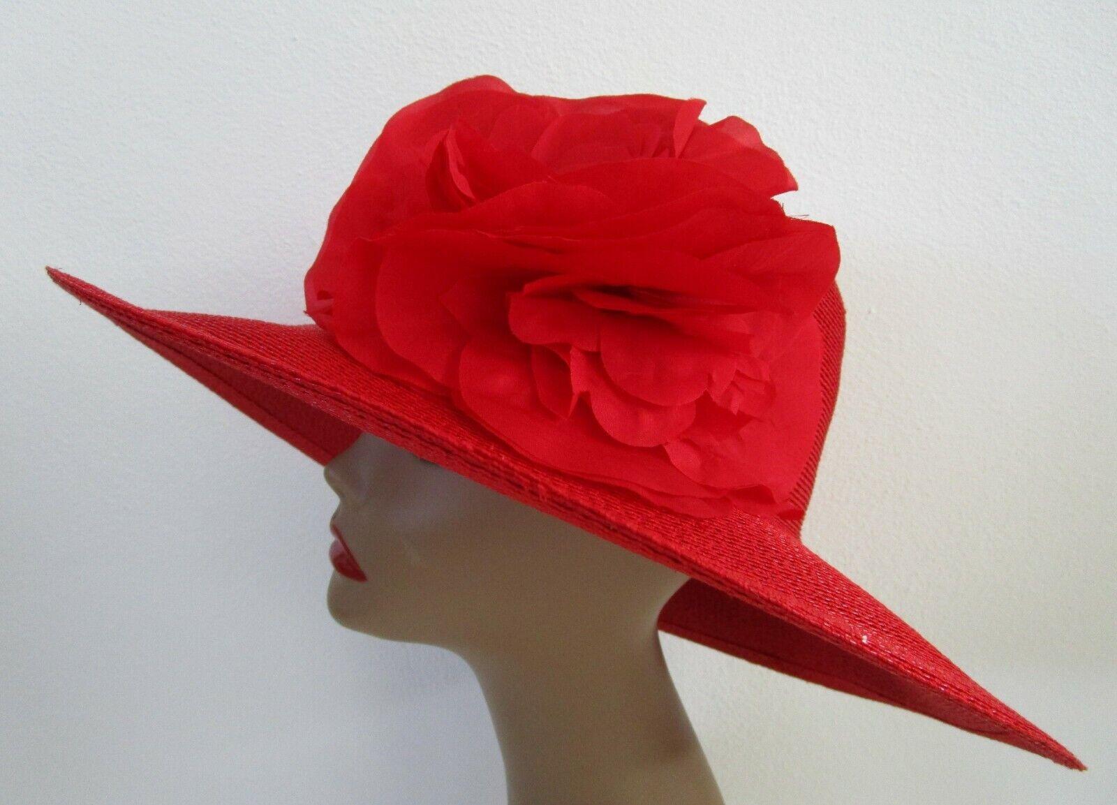 Patricia Underwood Red Wide Brim Hat Silk Flower … - image 11