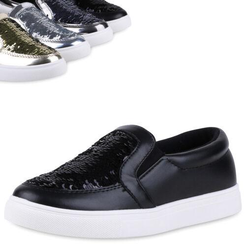 Damen Metallic Slip-ons Pailletten Sneakers Slipper Modisch 811432 Top
