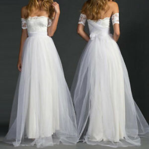 White Lace Bridal Ball Gown Tulle Beach Wedding Dress Elegant Off ...