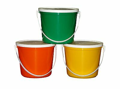 6 80 Oz Plastic Buckets Lids Food Safe Containers Mfg USA Lead Free Durable