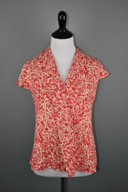 Ann Taylor WOmen's Petites Coral Tan Watercolor Front Pleat Cap Sleeve Blouse 4P