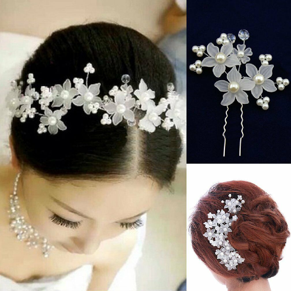 2 Pins Flowers Pearls Wedding Rhinestone Tiara Diadem White Bride