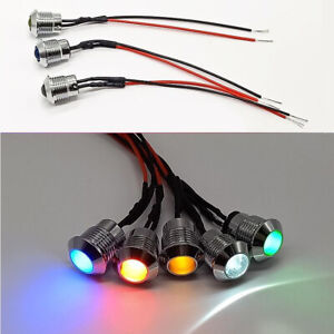 8mm New Vehicle Bulb Pilot Signal Lamp 12V LED  Car Indicator Light  Dash Panel