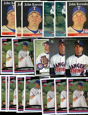 John Koronka Bulk Lot Of 20 Baseball Cards Chicago Cubs Rangers Discounts Sale Wholesale Lots