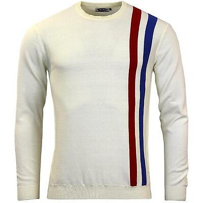 NEW MOD SIXTIES MOON RETRO MENS RACING JUMPER WHITE 60s Who Vintage Indie Mods
