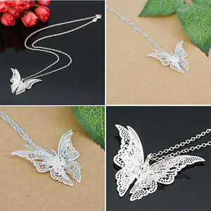New-Fashion-Women-Silver-Plated-Jewelry-Openwork-Butterfly-Necklace-Pendant-Gift
