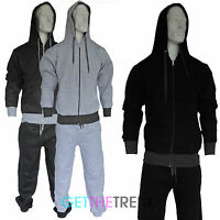 MENS FULL ZIP FLEECE TRACKSUIT JOG SUIT JOGGING TOP & BOTTOM HOODIE TOP S M L XL