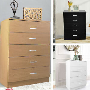 Tall Slim White/Black Chest of 5 Drawers Woode Storage Five Draw Units Cabinet | eBay