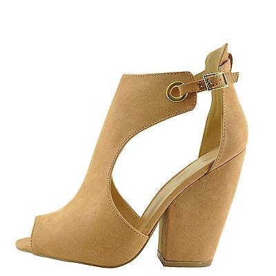 3ad230fef1d Qupid Sawyer 49 Blush Women's Peep Toe Cut Out Chunky Heel Sandals | eBay