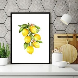 Lemon Canvas Oil Painting Prints Kitchen Wall Art Decor Poster with Frame