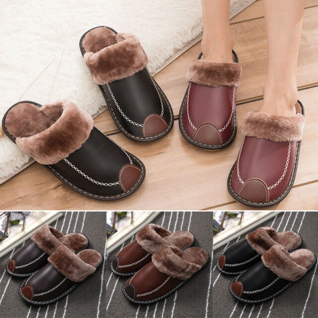 Men Leather Home Slippers Indoor Warm Flats Close Toe House Shoes Indoor Winter