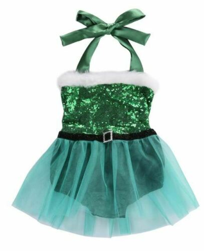 Fashion Christmas Newborn Baby Girl Rompers Jumpsuit Sequins Tulle Lace Dress Ch