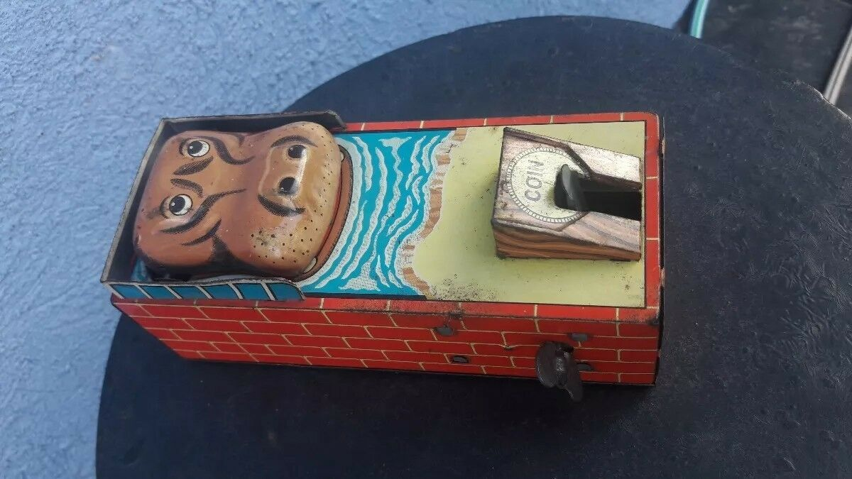 Vintage tin toy . Hippo Bank made in Japan