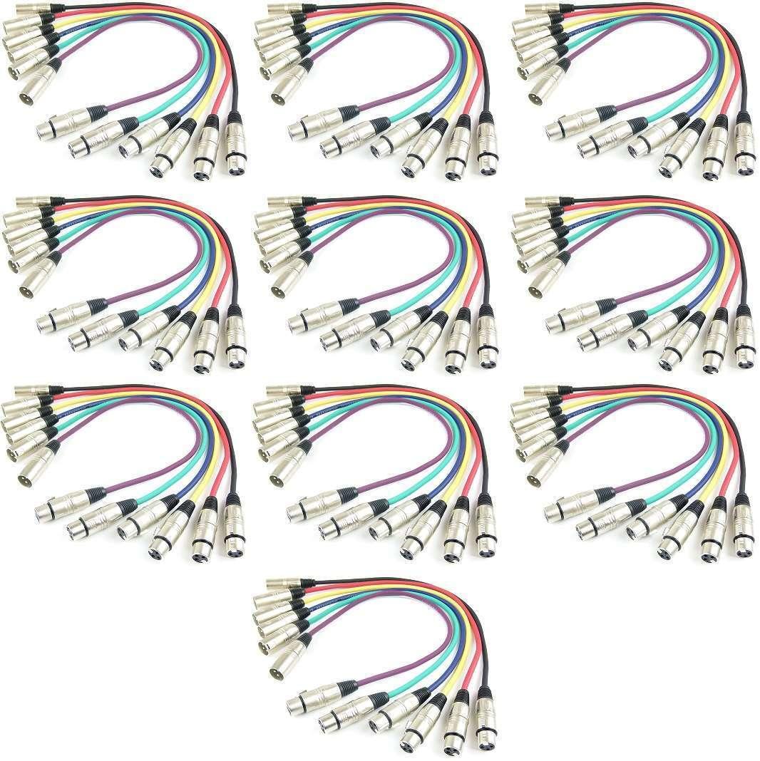 10 Sets 0,5 m XLR Mikrofonkabel Patchkabel in 6 Farben, DMX,  Neutrik kompatibel