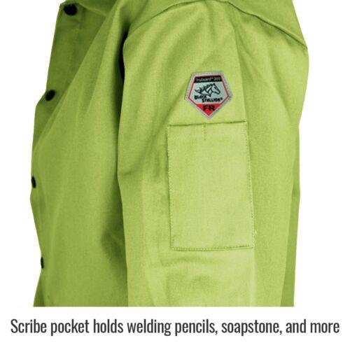 X-Large Revco Black Stallion 9oz Lime FR Cotton Welding Jacket FL9-30C