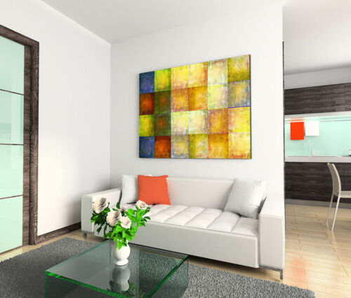 120x80cm Leinwandbild auf Keilrahmen Abstrakt Kacheln Vierecke Flicken Bunt