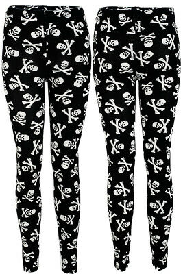 Effizient New Womens Ladies Small Skull Cross Bone Print Full Length Leggings Size S M L 8 Modische Muster