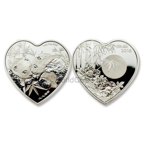 China 2016 Valentine Bamboo Panda 1 oz Silver Heart-shaped with COA