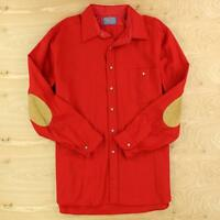 vtg usa made PENDLETON wool shirt XL red suede elbow patches trail flannel