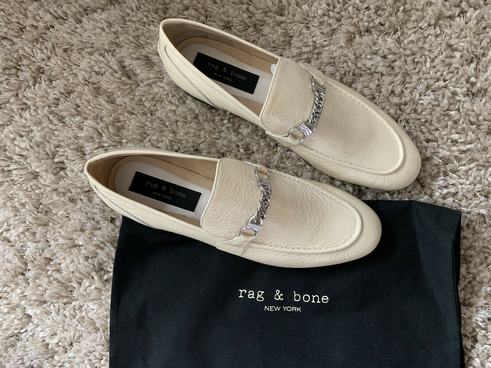 NIB Rag & Bone Patent Leather Loafer sautope Dimensione 40 Cream Loafers US Sz 10