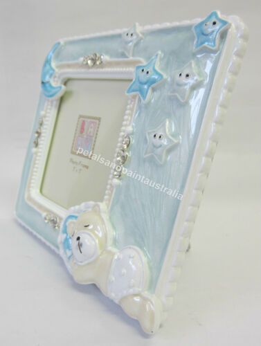 New Photo Frame with Blue Teddy Bear Moon /& Stars Diamontes Great Baby Boy Gift
