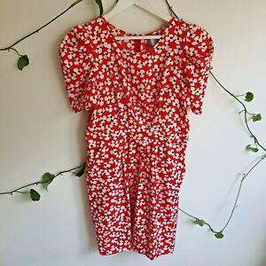 Hi-There-from-Karen-Walker-Red-White-Floral-Vintage-Style-Dress-14-M-L-Pockets