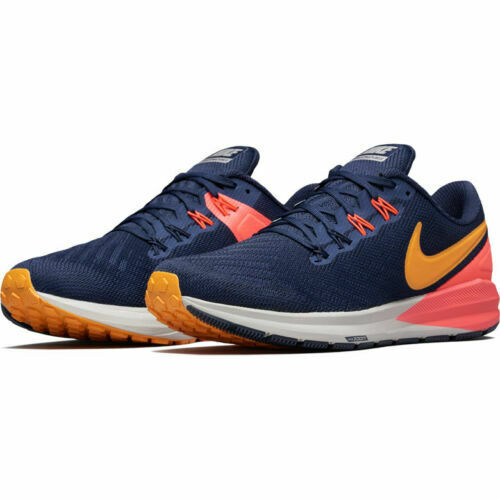 NIKE AIR ZOOM STRUCTURE 22 MEN'S SHOES SIZE  13 BLACKENED blueE orange AA1636 400