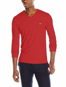 f1600df594 Details about NEW TH1370 51 6H5 Lacoste Men's Long Sleeve Jersey Fit V Neck  T-Shirt !! RED