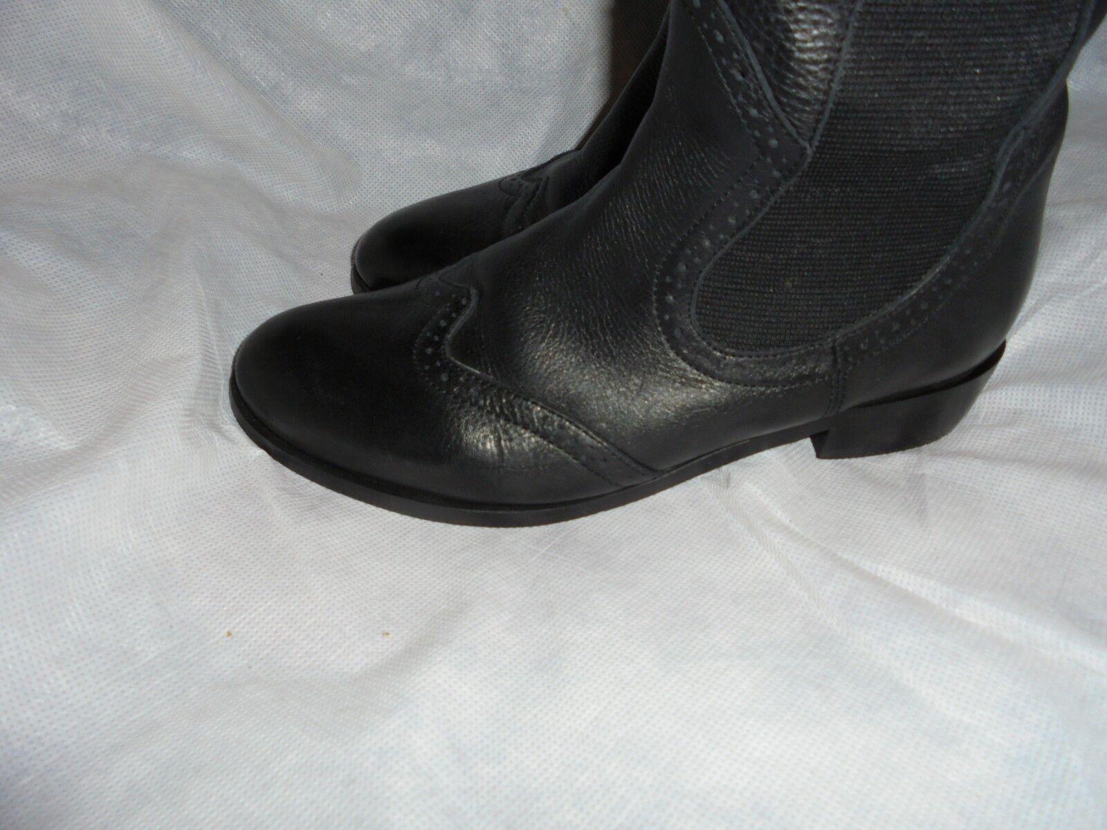 Vainilla Moon Zip Mujer Negro Cuero Elástico Zip Moon Knee High Botas Talla en muy buena condición 848dc1