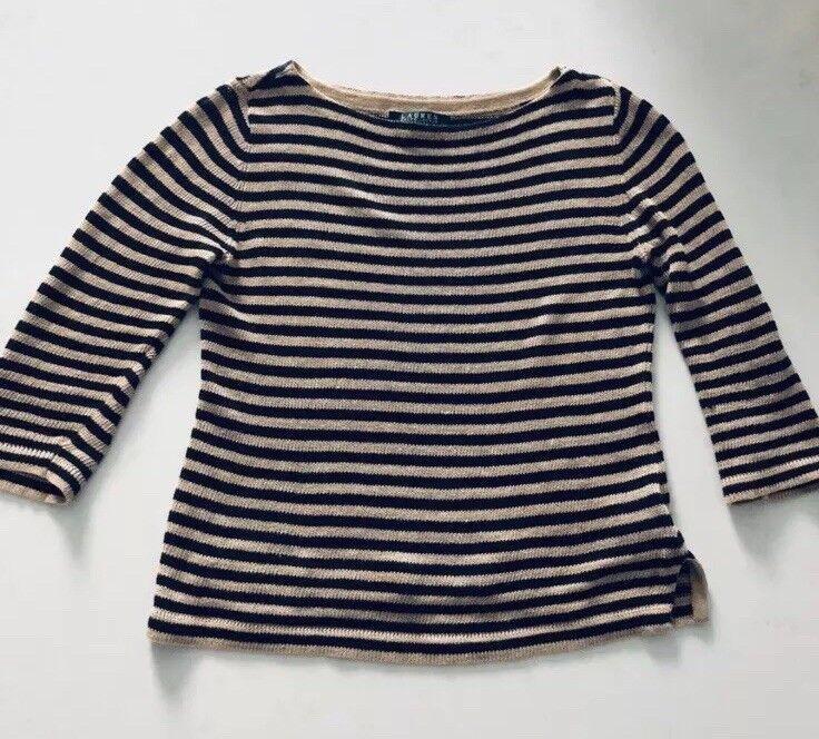 LAUREN Ralph Lauren petite nude striped sweater